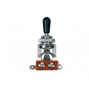 Toggle switch 3-way, open, nickel, black cap