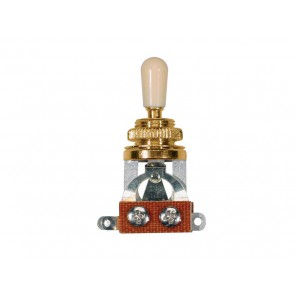 Toggle switch 3-way, open, gold lacquer, ivory cap