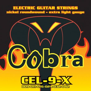 Cobra snarenset elektrische gitaar, nickel roundwound, extra light: .009-.011-.016-.024-.032.042