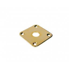 Jack plate, square, gold, flat metal
