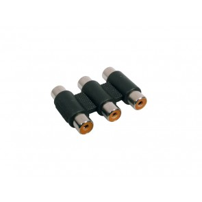 Verloop plug, 3x RCA female, 3x RCA female
