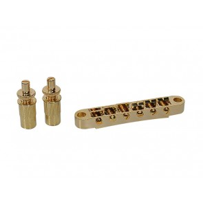 "Brug voor e-gitaar, ""tune'o matic"", goud, stud spacing 74,0mm, stud diam 6,5mm"