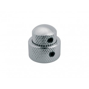 Double dome knob, metal, chroom, 15x14 + 19x12mm, with set screws allen type, shaft size 6,0 + 6,1