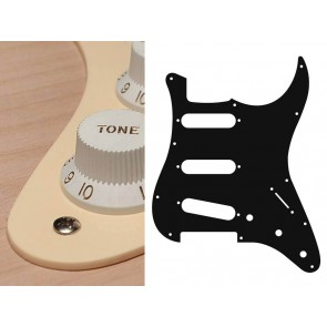 Pickguard Strat, 1 ply, cream, standard, SSS, 3 pot holes, 3-5 switch