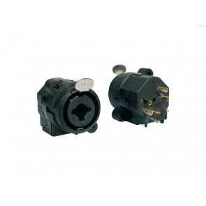 XLR chassis conn, female, 3-polig, zwart, combo model met 6,3mm female jack