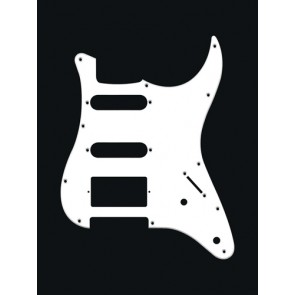 Pickguard Strat, 1 ply, white, SSH, 2 pot holes, 3-5 switch