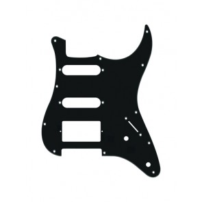 Pickguard Strat, 1 ply, black, SSH, 2 pot holes, 3-5 switch
