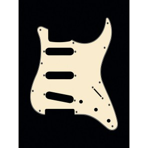 Pickguard Strat, 3 ply, vintage white, standard, SSS, 3 pot holes, 3-5 switch