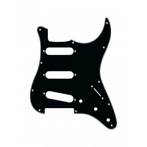 Pickguard Strat, 3 ply, black, standard, SSS, 3 pot holes, 3-5 switch