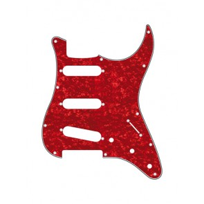 Pickguard Strat, 3 ply, pearl red, standard, SSS, 3 pot holes, 3-5 switch
