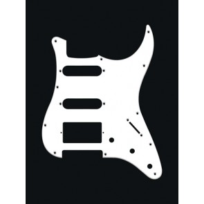 Pickguard Strat, 1 ply, white, SSH, 3 pot holes, 3-5 switch