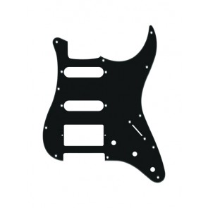 Pickguard Strat, 1 ply, black, SSH, 3 pot holes, 3-5 switch