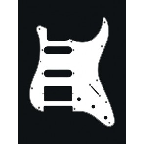 Pickguard Strat, 3 ply, white, SSH, 3 pot holes, 3-5 switch