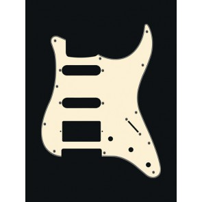 Pickguard Strat, 3 ply, vintage white, SSH, 3 pot holes, 3-5 switch