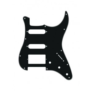 Pickguard Strat, 3 ply, black, SSH, 3 pot holes, 3-5 switch
