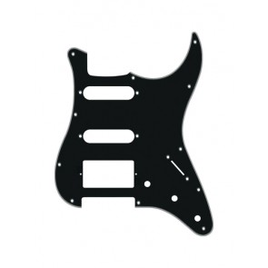 Pickguard Strat, 4 ply, black, SSH, 3 pot holes, 3-5 switch