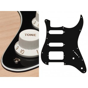 Pickguard Strat, 3 ply, black, SSH, 2 pot holes, 3-5 switch