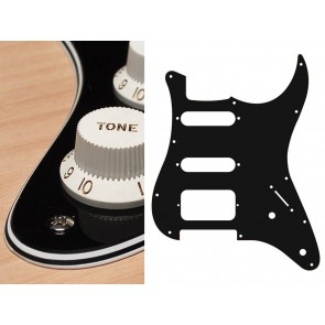 Pickguard Strat, 4 ply, black, SSH, 2 pot holes, 3-5 switch