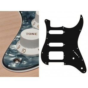 Pickguard Strat, 3 ply, pearl black, SSH, 2 pot holes, 3-5 switch