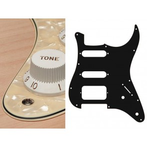 Pickguard Strat, 3 ply, pearl cream, SSH, 2 pot holes, 3-5 switch