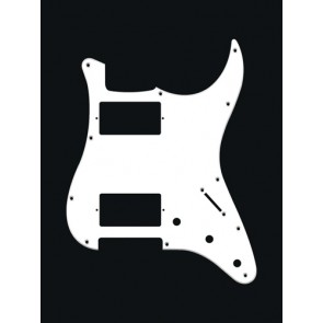 Pickguard Strat, 1 ply, white, HH, 3 pot holes, 3-5 switch