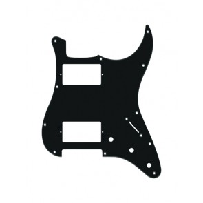 Pickguard Strat, 1 ply, black, HH, 3 pot holes, 3-5 switch