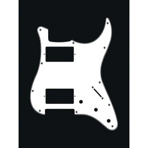 Pickguard Strat, 3 ply, white, HH, 3 pot holes, 3-5 switch