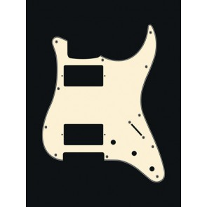 Pickguard Strat, 3 ply, vintage white, HH, 3 pot holes, 3-5 switch