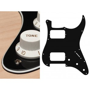 Pickguard Strat, 3 ply, black, HH, 3 pot holes, 3-5 switch