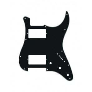 Pickguard Strat, 4 ply, black, HH, 3 pot holes, 3-5 switch