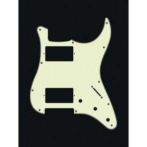Pickguard Strat, 3 ply, mint green, HH, 3 pot holes, 3-5 switch