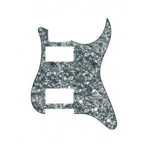 Pickguard Strat, 3 ply, pearl black, HH, 3 pot holes, 3-5 switch