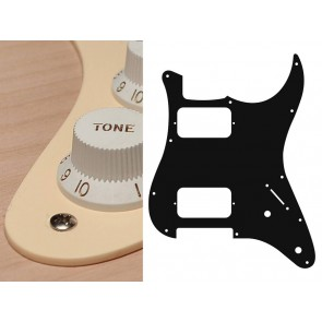 Pickguard Strat, 1 ply, cream, HH, 2 pot holes, 3-5 switch