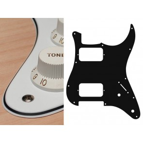 Pickguard Strat, 3 ply, white, HH, 2 pot holes, 3-5 switch