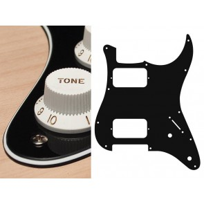 Pickguard Strat, 3 ply, black, HH, 2 pot holes, 3-5 switch