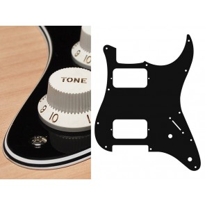 Pickguard Strat, 4 ply, black, HH, 2 pot holes, 3-5 switch