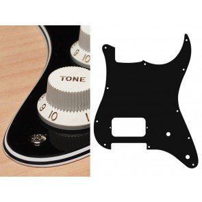 Pickguard Strat, 4 ply, black, H, 2 pot holes
