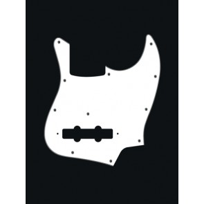 Pickguard Jazz bass, 3 ply, white, standard