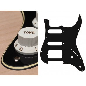 Pickguard Strat, 3 ply, black and cream, SSH, 2 pot holes, 3-5 switch