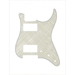 Pickguard Strat, 4 ply, pearl white webbing, HH, 3 pot holes, 3-5 switch