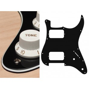 Pickguard Strat, 3 ply, black and cream, HH, 2 pot holes, 3-5 switch