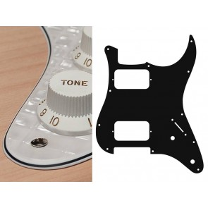 Pickguard Strat, 4 ply, pearl white webbing, HH, 2 pot holes, 3-5 switch