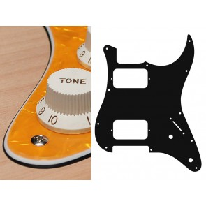 Pickguard Strat, 3 ply, pearl yellow, HH, 2 pot holes, 3-5 switch