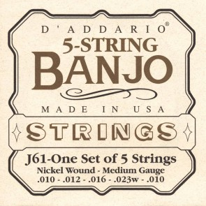 D'Addario snarenset 5-snarige banjo, nickel roundwound, medium, 010-012-016-023w-010