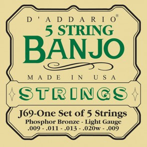 D'Addario snarenset 5-snarige banjo, phosphor bronze, bluegrass light, 009-011-013-020w-009