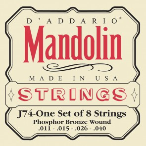 D'Addario snarenset mandoline, phosphor bronze, medium, 011-015-026-040