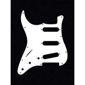 Pickguard Strat, 1 ply, white, standard, SSS, 3 pot holes, 3-5 switch, lefthanded