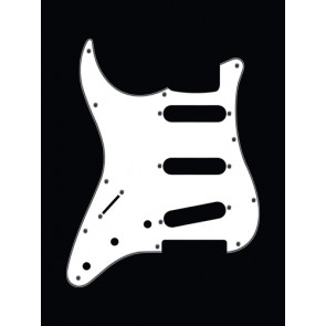 Pickguard Strat, 3 ply, white, standard, SSS, 3 pot holes, 3-5 switch, lefthanded