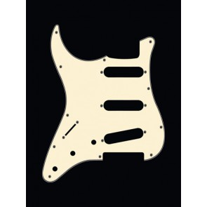 Pickguard Strat, 3 ply, vintage white, standard, SSS, 3 pot holes, 3-5 switch, lefthanded
