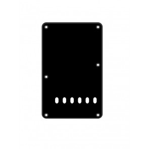 Back plate, string spacing 11,2mm, black, 1 ply, standard Strat, 86x138mm